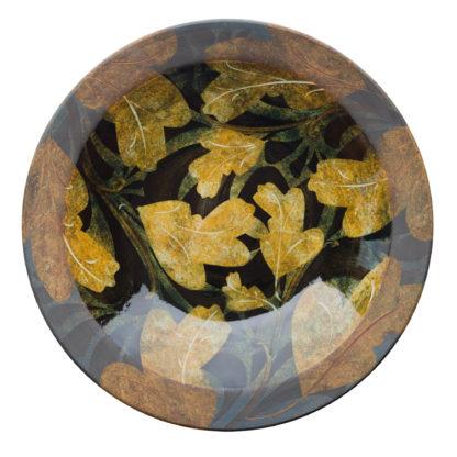Handmade Rimmed Dish-Foliage