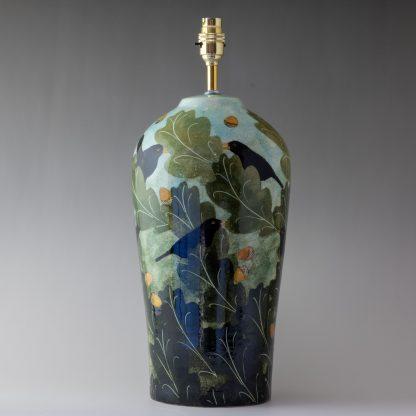 blackbird design, unique pottery, handpainted