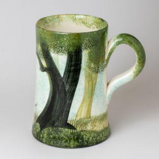 woodland design, handmade pottery mug, Shropshire pottery