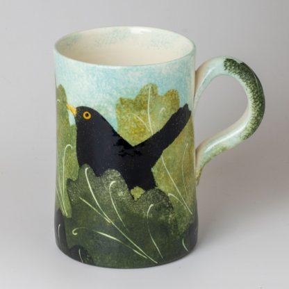 hand painte pottery mug, country pottery, blackbird design