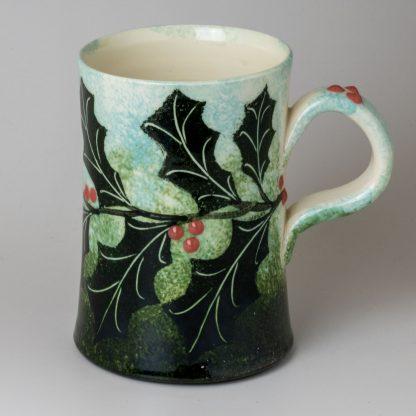 Holly mug, handmade pottery, hand painted ceramics