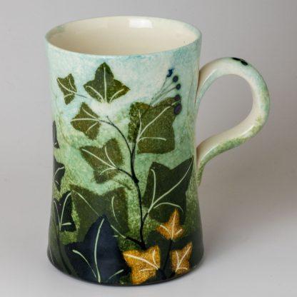 Ivy design, unique artisan pottery, handmade mug